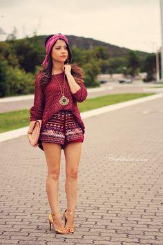 Blog da Lê-Moda Acessível: No look bordô e étnico