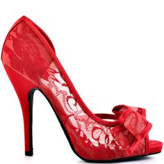 They'll be coming to you for fashion advice in this sexy wonder by Just Fabulous.  Jennifer showcases a sheer red lace upper with girly bow placed at the vamp.  A modest 4 1/4 inch heel and 3/4 inch platform will leave you with plenty of style admirers.