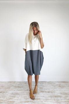 Charcoal Colorblock Linen Dress   ROOLEE