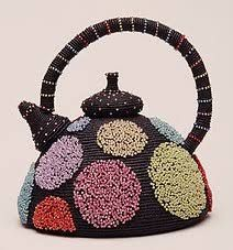 Merrill Morrison (), American / Spot of Tea . beaded teapot sculpture, black with large colour polka dots, knotted thread and glass beads Cute Teapot, Everyday Dishes, Micro Macrame, Macrame Art, Historical Artifacts, Asian Design, Teapots And Cups, Chocolate Pots, Tea Ceremony