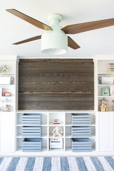 DIY Reclaimed Wood Plank Focal Wall + One Room Challenge Playroom Makeover Week 4 | blesserhouse.com - How to install a reclaimed wood plank focal wall in under an hour to create contrast, texture, and character in any space. popular pin