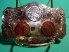 INDIAN HEAD Pennies COMSTOCK SILVERSMITHS Cowboy Western Belt Buckle MAKE OFFER We are OLDWEST on eBay and have over 1200 buckles for sale! You can e-mail us at saddlerestoration@hotmail.com