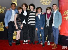 (L-R) Actors Chosen Jacobs, Sophia Lillis, Wyatt Oleff, Finn Wolfhard, Jack Dylan Grazer, Jeremy Ray Taylor and Jaeden Lieberher attend the…