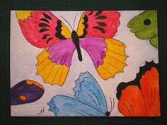 ACEO Original Water Colour Painting  ' Butterflies by greanbea, $5.50