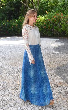 {Saia Ocean} saia longa fluída com estampa em tons de azul da coleção Resort 2015