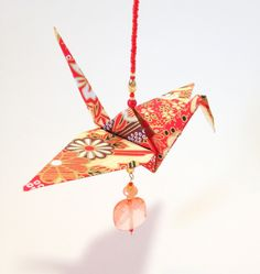 Embellished Origami Crane Beaded Dangle Ornament as an Asian