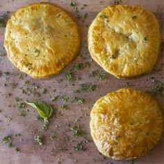 Chicken, onion and pepper pies