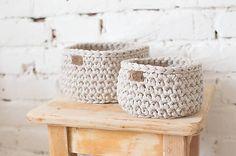 Cotton basket, cozy, pure, crochet, natural