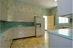 Gorgeous gray and turquoise 1956 dream kitchen and four bathrooms -- 10 photos - Retro Renovation