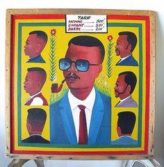 1960s West African barbershop sign - liste de prix chez le coiffeur - barbier l'Afrique de l'ouest