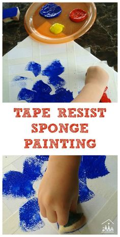 Do your kids enjoy Tape Resist Art and Sponge Painting? We have combined the two to create this fun Tape Resist Sponge Painting for Preschoolers activity. Preschool Painting, Painting Activities, Preschool Art, Craft Activities For Kids, Painting For Kids, Preschool Activities, Projects For Kids, Art For Kids, Art Projects