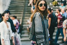 Stud leather Jacket woman - Street Style Womens New York Photo Driely S.jpg