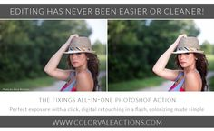 """Photoshop Actions:  Want to stretch your purchasing power?  Grab this incredible All-In-One Action.  Wondering what that means?  All-In-One is the sexy secret over at Colorvale®.  We have revolutionized actions and turned them into true time savers with the development of The Fixings.  Everything you need in one little action and one click of the """"play"""" button!  #photoshop #actions #photography Photoshop Actions For Photographers, All In One, Your Image, Make It Simple, Photo Editing, The Incredibles, Play, Button, Photography"""