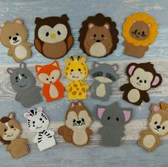 Working on lots more jungle animal and woodland animal finger puppets for the store.   Great gifts for all occasions, stocking fillers, busy book props, party favors or use them with a story book with your toddler.