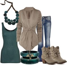 Tan and teal casual outfit. Love!