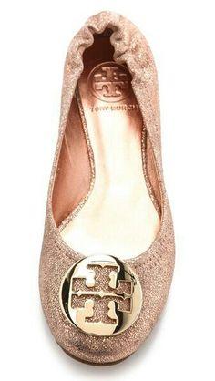 c70e73967f03 Tory Burch Reva Metallic Ballet Flats rose gold look!