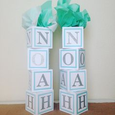 Nothing is more adorable than these cute alphabet blocks used to make table centerpieces for your upcoming baby shower! Spell out whatever you please to please Momma and the guests! USES -These alphabet blocks are designed to stack on top of another and have a string of balloons run through them. -Decorate baby shower tables, entry table, gift table, cake table...etc. MISUSES - These blocks are not made to sit on the floor and take a photo with. They wont be that tall! Each block is 4.5...