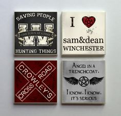 Supernatural SPN Fandom - Ceramic Tile Refrigerator Memo Magnet Set Magnets - Angel Trenchcoat Crowley and More from LemonPlumDesigns on Etsy. Supernatural Fans, Supernatural Crafts, Supernatural Merchandise, Supernatural Jewelry, Supernatural Birthday, Supernatural Christmas, Supernatural Drawings, Destiel, Thing 1