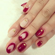 red and heart nails