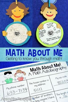 Math About Me math craft- Such a fun getting to know you, all about me activity where kids describe themselves using math! Perfect for kids to make at a math night at school or as a back to school first week activity. Visit this post to see more favorite first week of school activities!