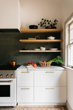 Home Interior Drawing white kitchen cabinets green tile backsplash.Home Interior Drawing white kitchen cabinets green tile backsplash Tall Kitchen Cabinets, Kitchen Ikea, Ikea Cabinets, Kitchen Hacks, Ikea Kitchen Shelves, Ikea Kitchen Design, White Cabinets, Home Design, Küchen Design