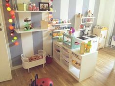 Girls room with kitchen and grocery store.