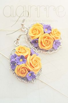 Framed bouquet earrings by aarrre on Etsy, $40.00