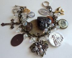 Vintage Charm Bracelet with Religious Medals Lockets Glass Beads