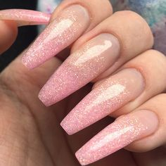 My new coffin or ballerina nails using Light Elegance glitter gel Bubble Gum
