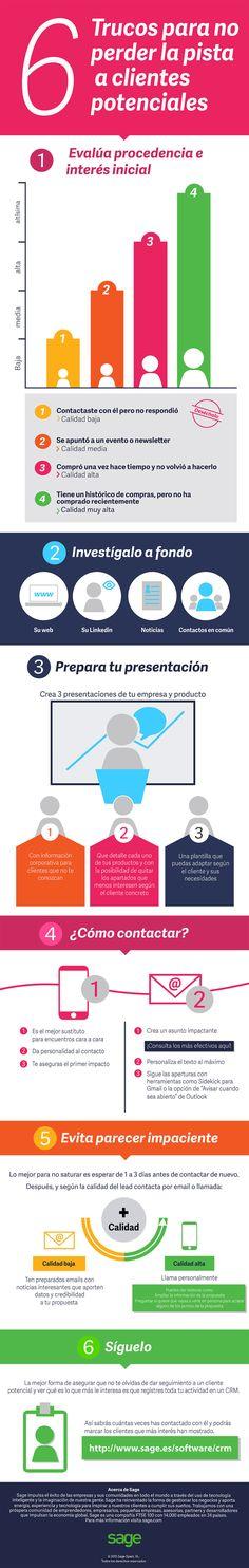 Hola: Una infografía con 6 trucos para no perder la pista a clientes potenciales. Vía Un saludo