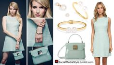 Buy Emma Roberts' Scream Queens Promo Photo Pearl Jewelry and Mint Tweed Dress and PVC Purse, here!
