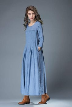 Lightweight and low maintenance, crisp and cooling linen is a getaway must. This blue linen dress is the ultimate suitcase essential. Youll be able to build your capsule holiday wardrobe around this gently fitted linen wrap-around dress. The 3/4 sleeved dress is a go-to piece for warm