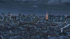 Wallpaper Concrete Buildings, Makoto Shinkai