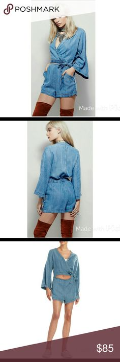 Rare Bird Wrap One piece Chambray wrap top romper with belled sleeves and cutout midsection detail. Free People Other