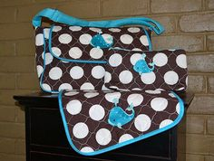 Preppy Polka Dot Whale Messenger Style Diaper Bag by bluegumballz, $50.00