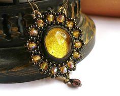 Beaded sunflower pendant  yellow gold glittery by MoonsafariBeads, $51.00