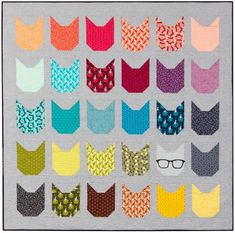 """The Kittens"" quilt designed by Elizabeth Hartman. Features Kona Cotton, Essex Yarn Dyed, and Rhoda Ruth by Elizabeth Hartman. Kit available."