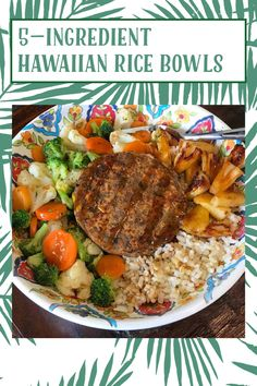 Hawaiian Rice, How To Make Oil, Frozen Pineapple, Teriyaki Sauce, Food Words, Recipe Ratings, Recipe Please, Mixed Vegetables, Rice Bowls