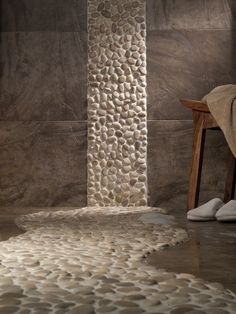 This Zen bathroom with the river rocks is amazing!