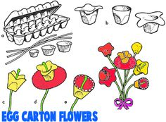 EGG CARTON CRAFTS FOR KIDS : Ideas for Arts & Crafts Projects & Activities Using Egg Cartons with Your Children, Preschoolers, Toddlers, & Teens Kids Food Crafts, Camping Crafts, Craft Activities For Kids, Toddler Crafts, Preschool Crafts, Preschool Ideas, Craft Ideas, Easter Crafts, Recycled Art Projects