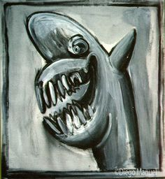Painting titled Shark for sale, of the artist Diego Manuel. Venta de la pintura titulada Tiburon, del artista Diego Manuel