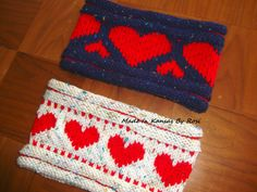 From Made In Kansas By Rosi... on Facebook... handknit heart design headband/earwarmers.