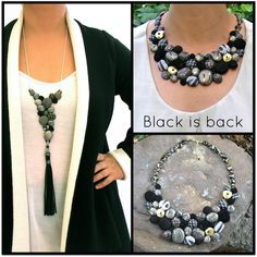 For the holidays i have created One of a kind necklaces in black & grey with a spark of gold or silver. The perfect conversation piece for your celebration!! If you have a colorful soul, take a look at the chokers and bib necklaces in my shop, enjoy...