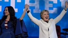 Hillary Clinton has been speaking at an event in Pennsylvania - appearing alongside singer and Democrat supporter, Katy Perry.