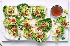 For an appetiser that's bursting with freshness and packed full of flavour, you can't go past these Asian-style coconut chicken lettuce cups! A great healthy option for your next dinner party, serve with fried shallots, coriander sprigs and lime wedges Lettuce Recipes, Fish Recipes, Chicken Recipes, Healthy Recipes, Savoury Recipes, Healthy Breakfasts, Nutritious Meals, Healthy Meals, Asian Recipes