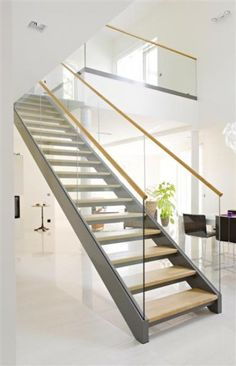 Glass Straight Staircase with Laminated Tempered Glass Tread/Oak Tread, Find Details about Stairs, Glass Staircase from Glass Straight Staircase with Laminated Tempered Glass Tread/Oak Tread - Shenzhen Ace Architectural Products Co. Staircase Landing, Marble Staircase, Floating Staircase, Staircase Railings, Steel Balustrade, Glass Balustrade, Modern Stair Railing, Modern Stairs, Types Of Stairs