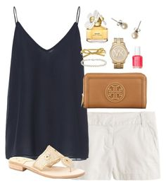 Simple by classically-preppy on Polyvore featuring Zara, J.Crew, Jack Rogers, Tory Burch, Michael Kors, Kate Spade, Blue Nile, Marc Jacobs, Essie and women's clothing