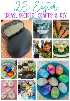Easter Round Up ~ 25 Recipes, Crafts, DIY quick and easy ideas to make Easter Fun - A Thrifty Mom - Recipes, Crafts, DIY and Easter Arts And Crafts, Easter Egg Crafts, Spring Crafts, Easter Season, Diy Easter Decorations, Craft Projects For Kids, Thanksgiving Crafts, Easter Recipes, Mom