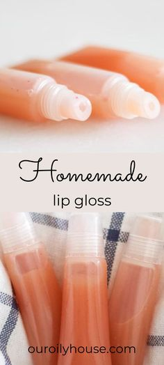 Have you ever wondered how to make lip gloss at home? learn how to make natural lip gloss with only 4-ingredients! This easy recipe is made with all-natural ingredients, is soothing to dry lips, and only cost pennies per tube to make. #lipglossrecipe #homemadelipgloss #lipglossbalm Lip Gloss Homemade, Diy Lip Gloss, Lip Gloss Tubes, Wild Orange Essential Oil, Essential Oils For Add, Lip Gloss Containers, Whipped Body Butter, Dry Lips, Natural Deodorant