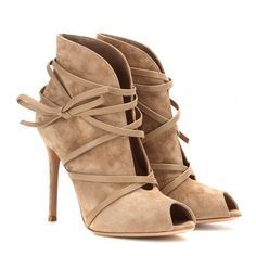 Gianvito Rossi mytheresa.com Exclusive Suede Open-Toe Ankle Boots (55,810 INR) ❤ liked on Polyvore featuring shoes, boots, ankle booties, heels, ankle boots, kengät, beige, bootie, booties and chukka boots